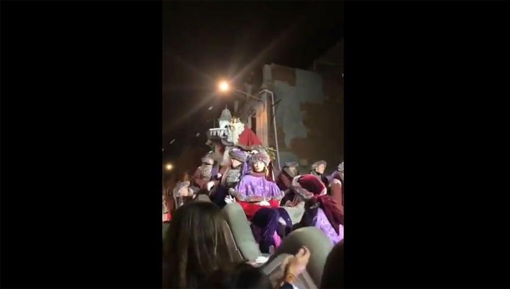 El Rey Melchor durante la cabalgata de Tarrasa