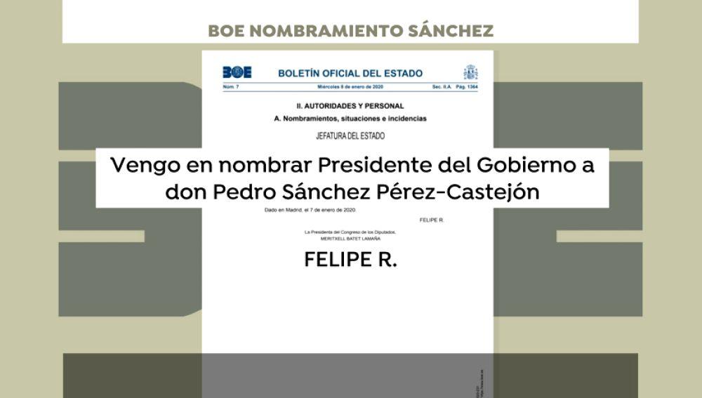 Publicación en el BOE de la investidura de Pedro Sánchez