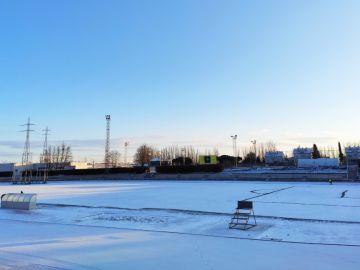 Unionistas - Real Madrid: El campo de Las Pistas de Salamanca amanece completamente nevado | Copa del Rey