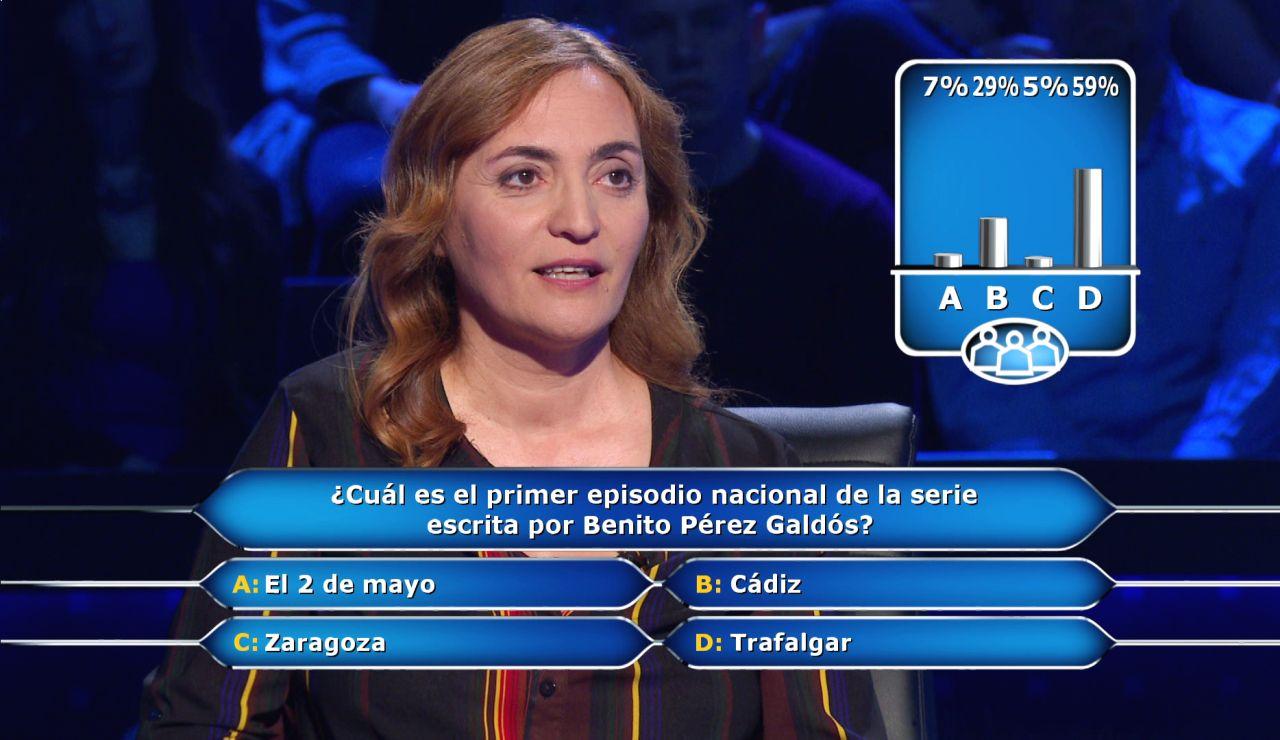 Laura Zulueta recurre al público ante el dilema de Pérez Galdós en '¿Quién quiere ser millonario?'