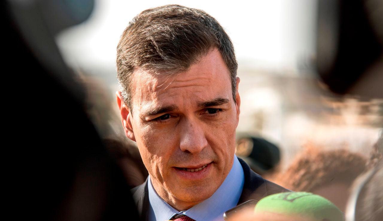 Pedro Sánchez durante su visita a Mallorca para valorar los efectos del temporal