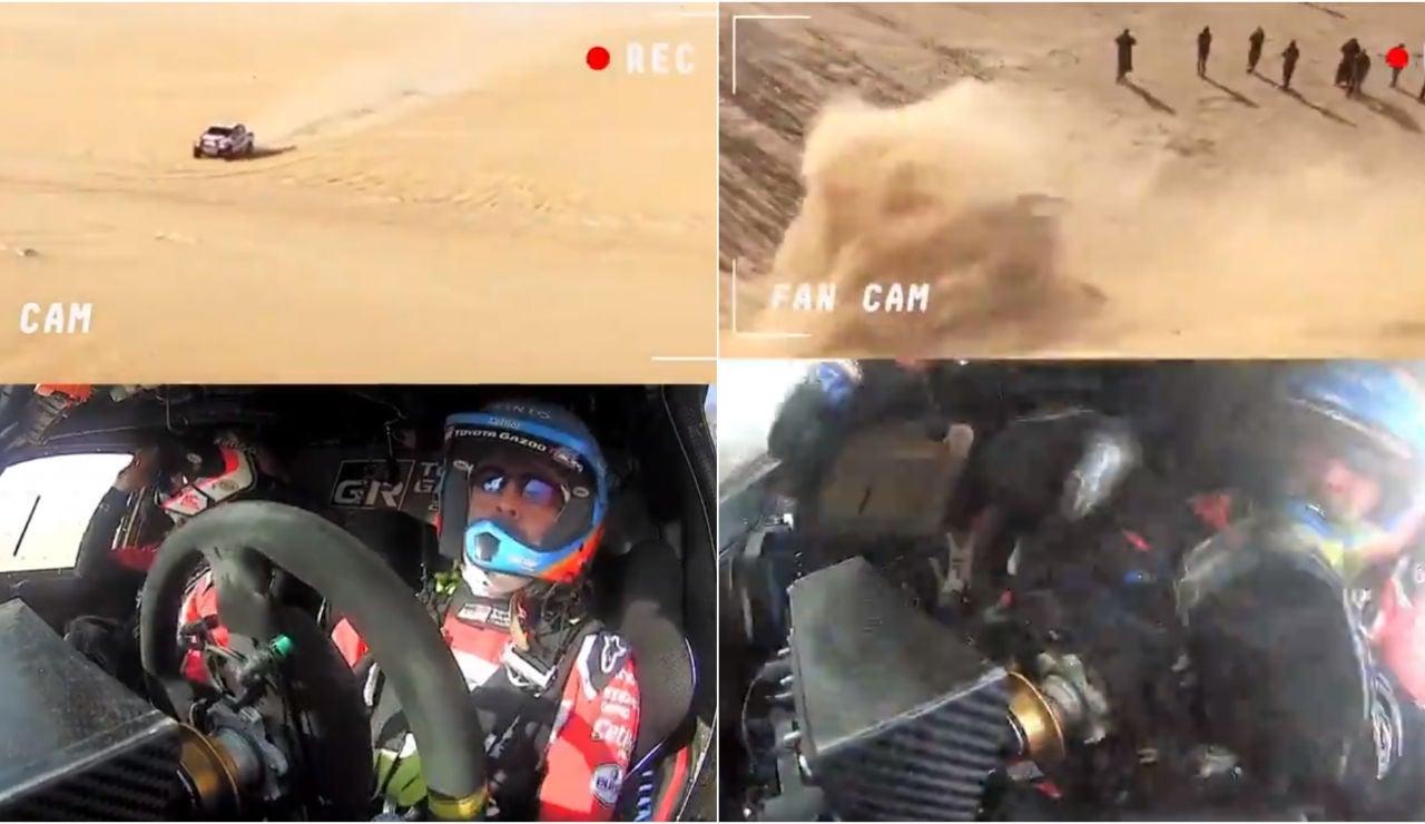Momento del accidente de Fernando Alonso en el Dakar desde dentro del coche