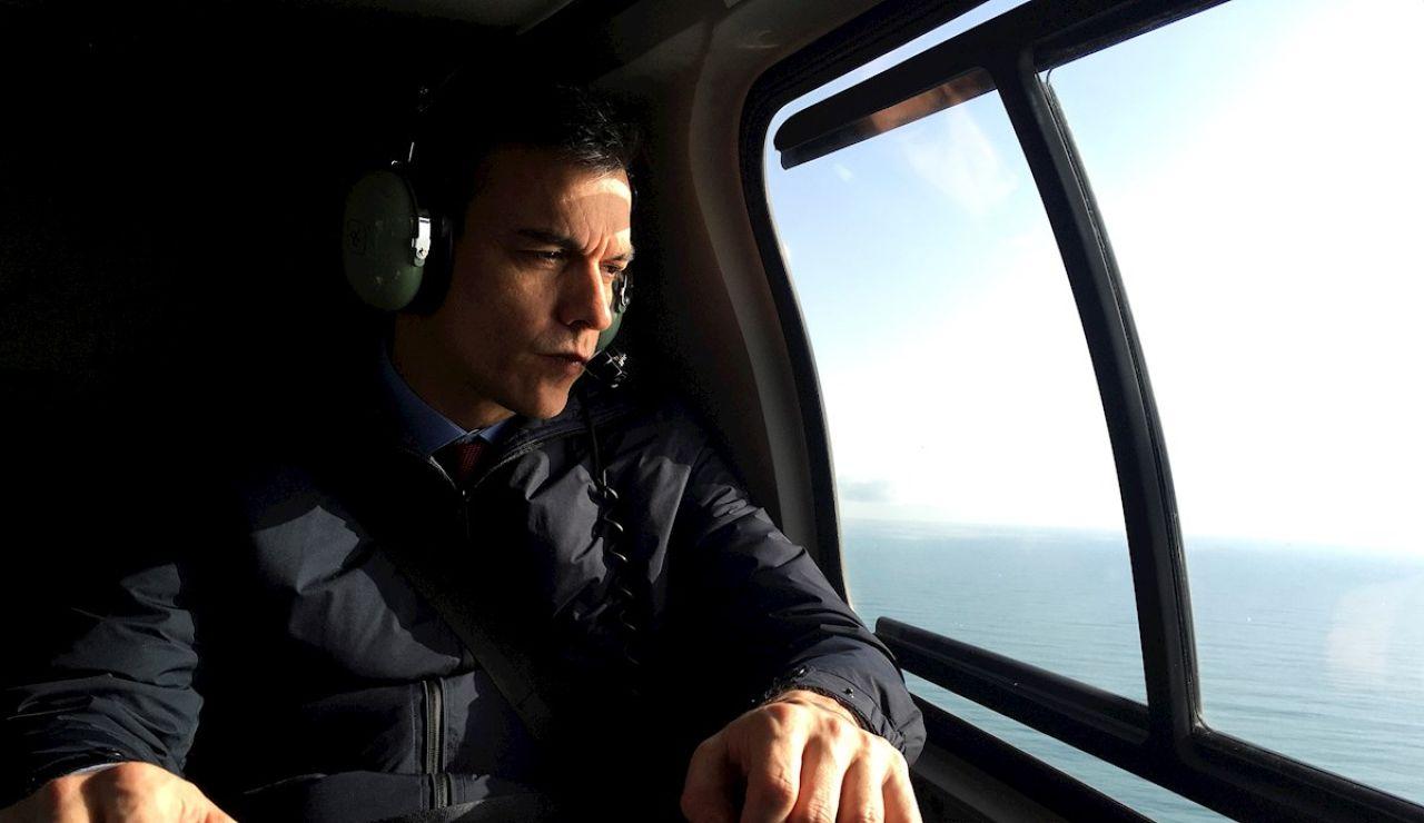 El presidente del Gobierno, Pedro Sánchez, sobrevuela las zonas afectadas por la borrasca Gloria