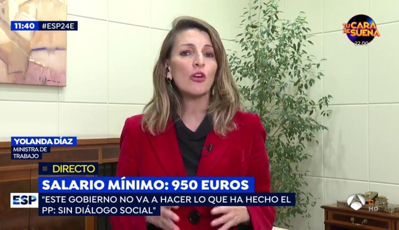 """Yolanda Díaz, ministra de Trabajo: """"El salario mínimo es una herramienta fundamental para combatir la pobreza laboral"""""""