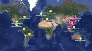 Mapa en tiempo real de la evolución del coronavirus