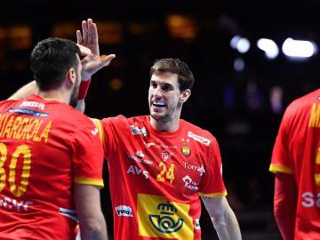 Viran Morros celebra un gol con Gedeón Guardiola