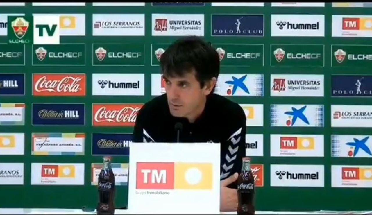 José Rojo Martín, técnico del Elche, en rueda de prensa