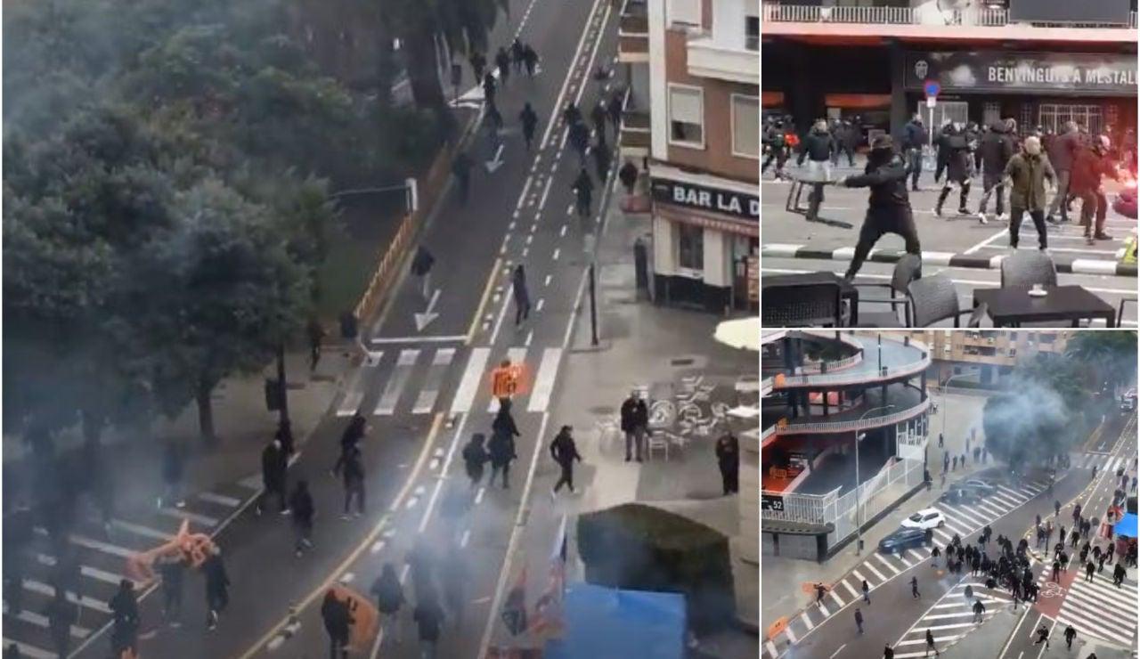 Violenta pelea entre ultras del Barça y el Valencia