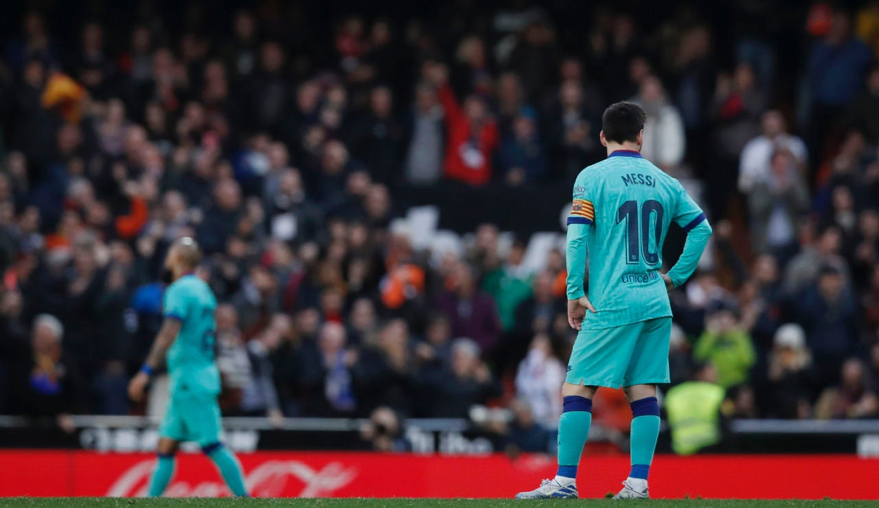 Leo Messi, durante el partido ante el Valencia