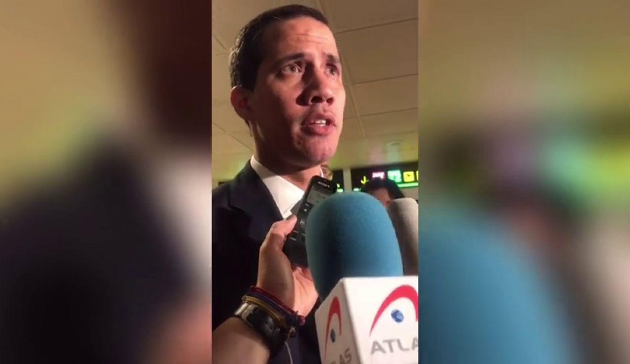 Juan Guaidó, a su llegada a Madrid