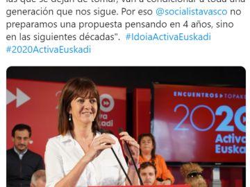 La Secretaria General del PSE-EE, Idoia Mendia, en un acto del partido