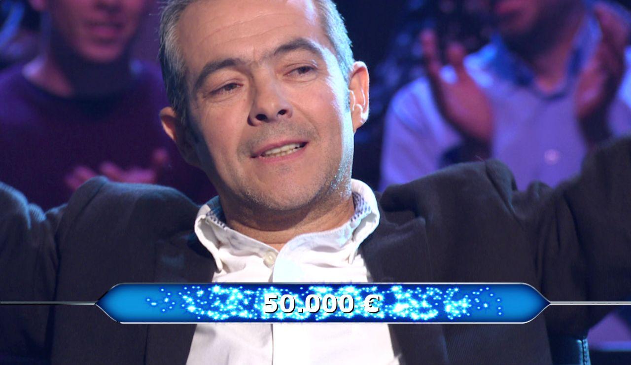 Sin comodines a por los 50.000 euros: El Cid recompensa la valentía de Juanpe en '¿Quién quiere ser millonario?'