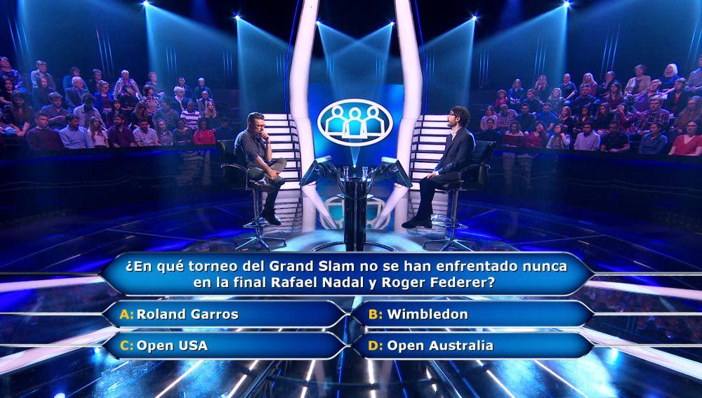 'Match ball' de Rafa Nadal y Roger Federer a Alberto por 10.000 euros en '¿Quién quiere ser millonario?'
