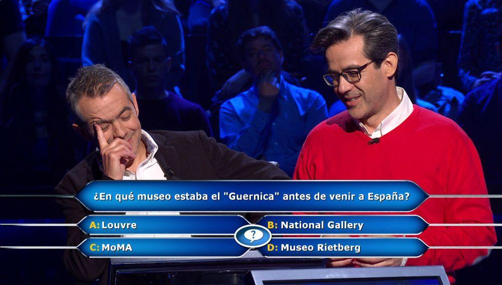 """Un """"fogonazo"""" sobre el 'Guernica' salva a Juanpe en la pregunta por los 30.000 euros en '¿Quién quiere ser millonario?'"""