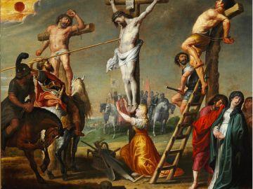 Longino perforando el costado de Cristo con una lanza - Gerard de la Vallee