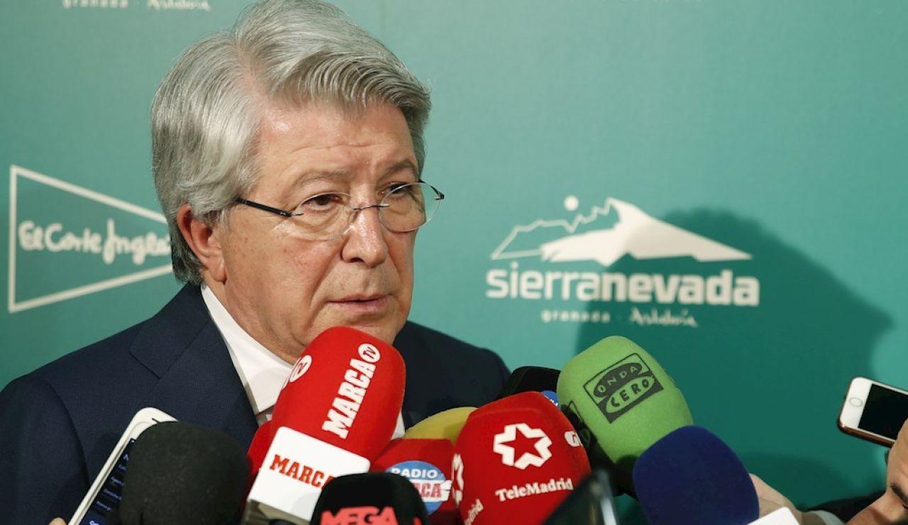 El presidente del Atlético de Madrid, Enrique Cerezo