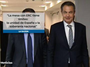 """José Luis Rodríguez Zapatero: """"La mesa con ERC tiene como límites de entrada la unidad de España y la soberanía nacional"""""""