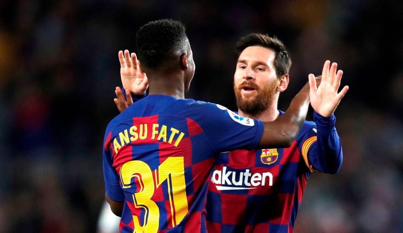 Ansu Fati y Leo Messi