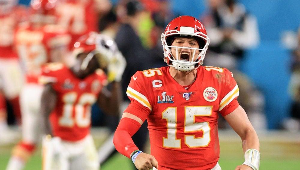 Patrick Mahomes, en acción en la final de la Super Bowl