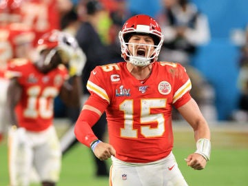 Patrick Mahomes, en acción en la final de la Super Bowl