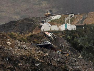El operativo de búsqueda tras el corrimiento de tierras en localidad vizcaína de Zaldibar, Bizkaia.