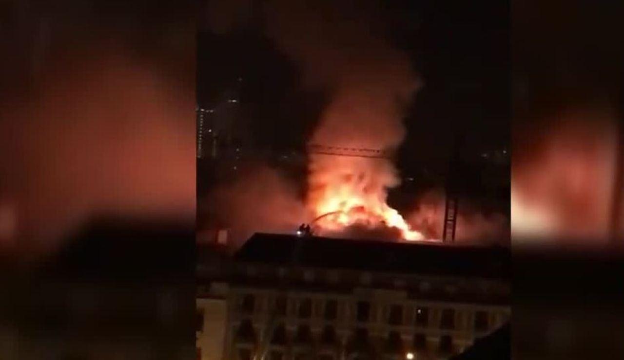 Incendio en un edificio de Madrid