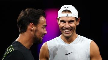 Fognini junto a Rafael Nadal