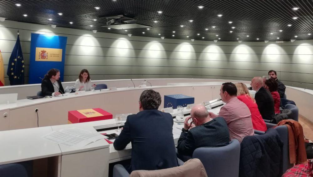 Reunión de la ministra de Trabajo, Yolanda Díaz, con los sindicatos agrarios