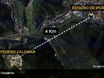 Aplazado el Eibar - Real Sociedad por contaminación del aire debido a un incendio próximo a Ipurua