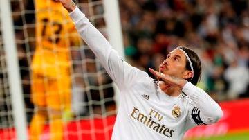 El defensa del Real Madrid, Sergio Ramos, celebra el segundo gol del equipo blanco ante el Celta.