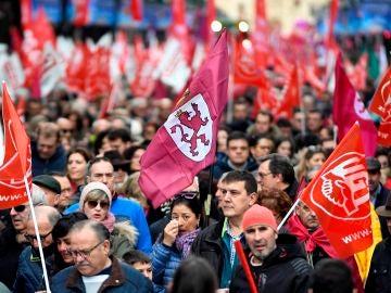Vista de la manifestación de León