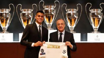 Renier, en su presentación con el Real Madrid