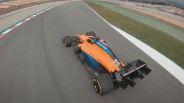 El McLaren MCL35, a vista de dron
