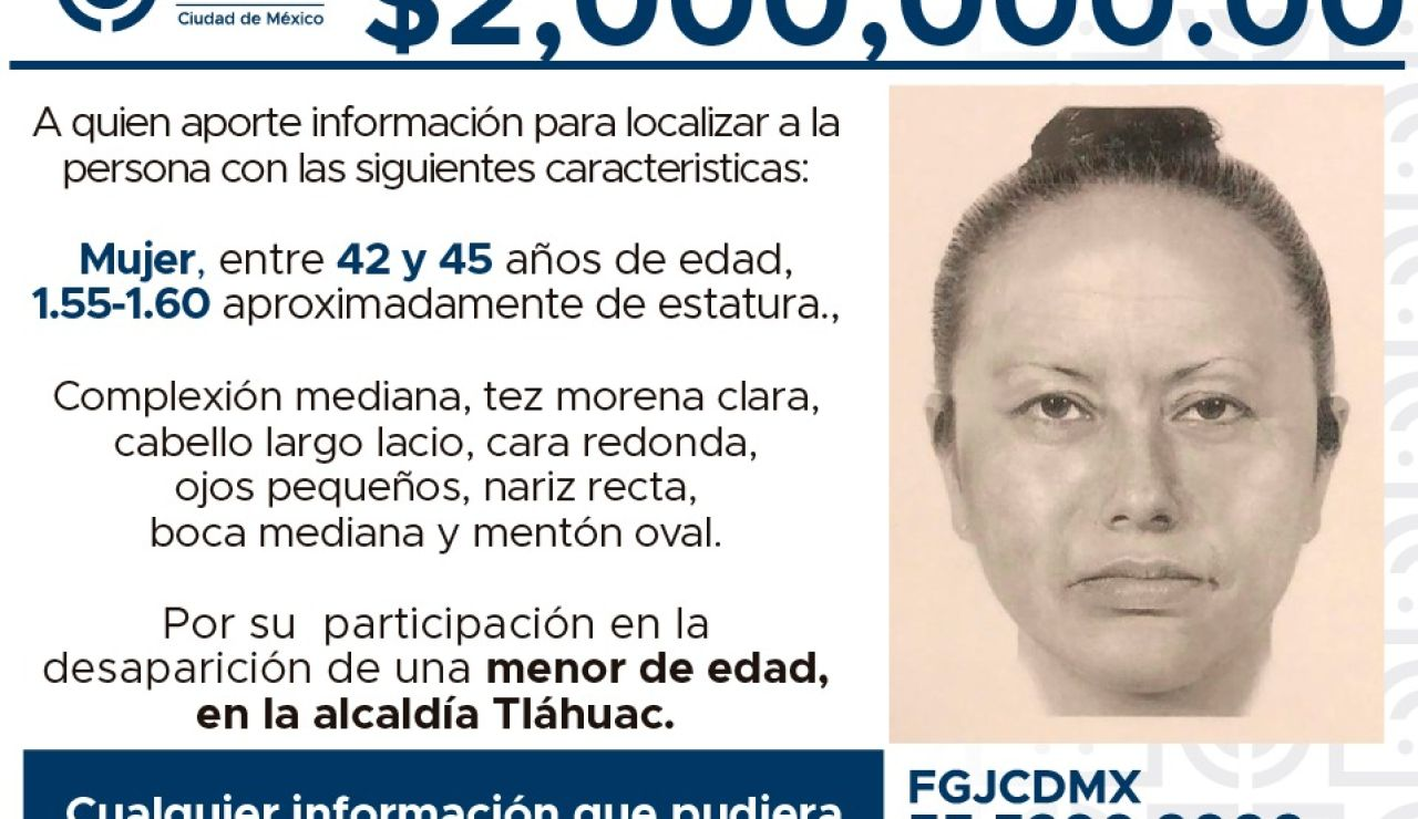 Difunden un retrato robot de la mujer que secuestró a la niña asesinada en México