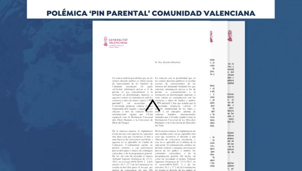 El Gobierno valenciano envía una carta a los centros escolares públicos en contra del pin parental