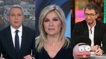 Vicente Vallés, Sandra Golpe y Pablo Motos