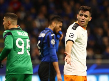 Maxi Gómez se lamenta tras una ocasión fallida