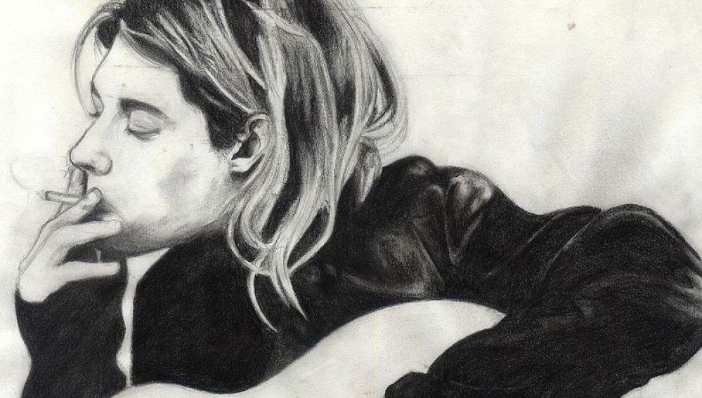 Dibujo de Kurt Cobain por Rose Robin