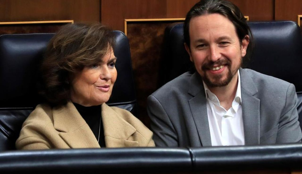 Carmen Calvo y Pablo Iglesias