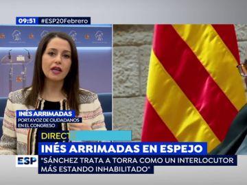 """Inés Arrimadas, sobre el rechazo de Torra a reunirse el 24 de febrero: """"Sánchez está arrodillado a Torra, es indignante y una humillación"""""""