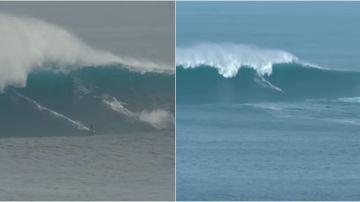 Un surfista en la ola gigante de Belharra