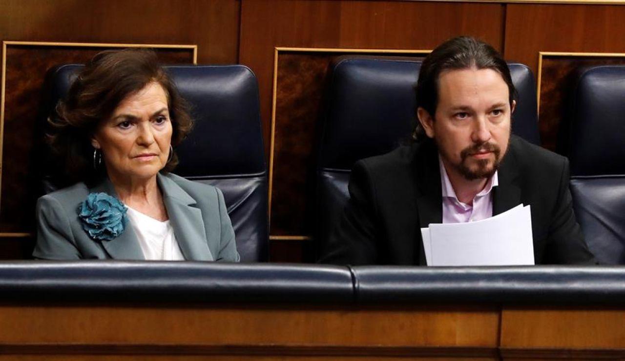 Los vicepresidentes del Gobierno, Carmen Calvo y Pablo Iglesias