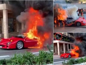 Un Ferrari F40 ardiendo en plena calle de Montecarlo