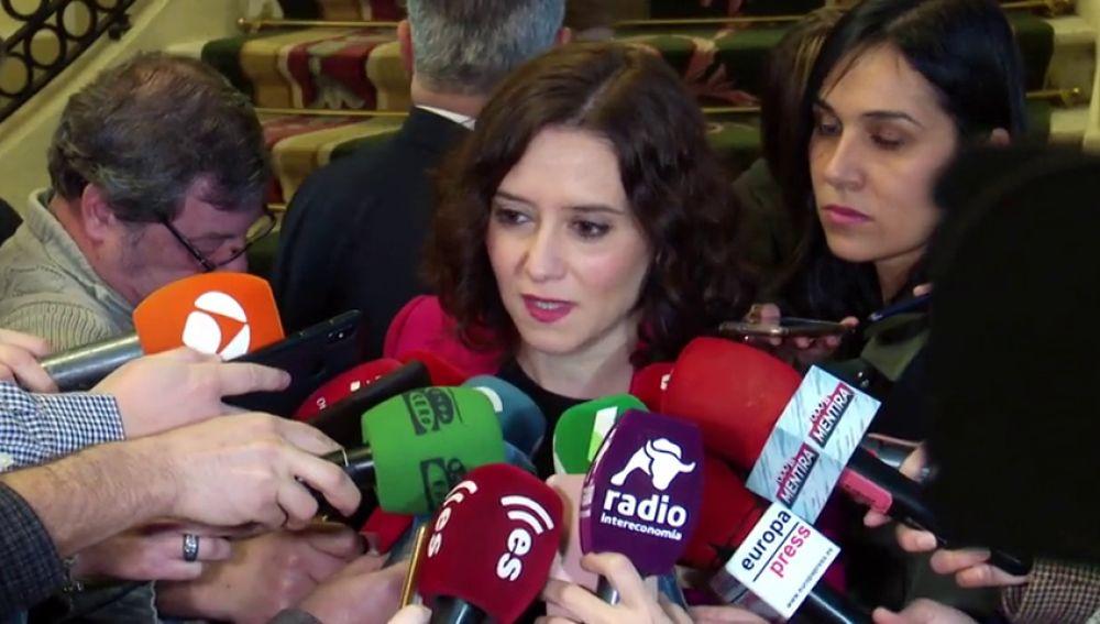 Ayuso acusa al Gobierno central de intentar imponer en Madrid impuestos anacrónicos y olvidados como Patrimonio y Sucesiones