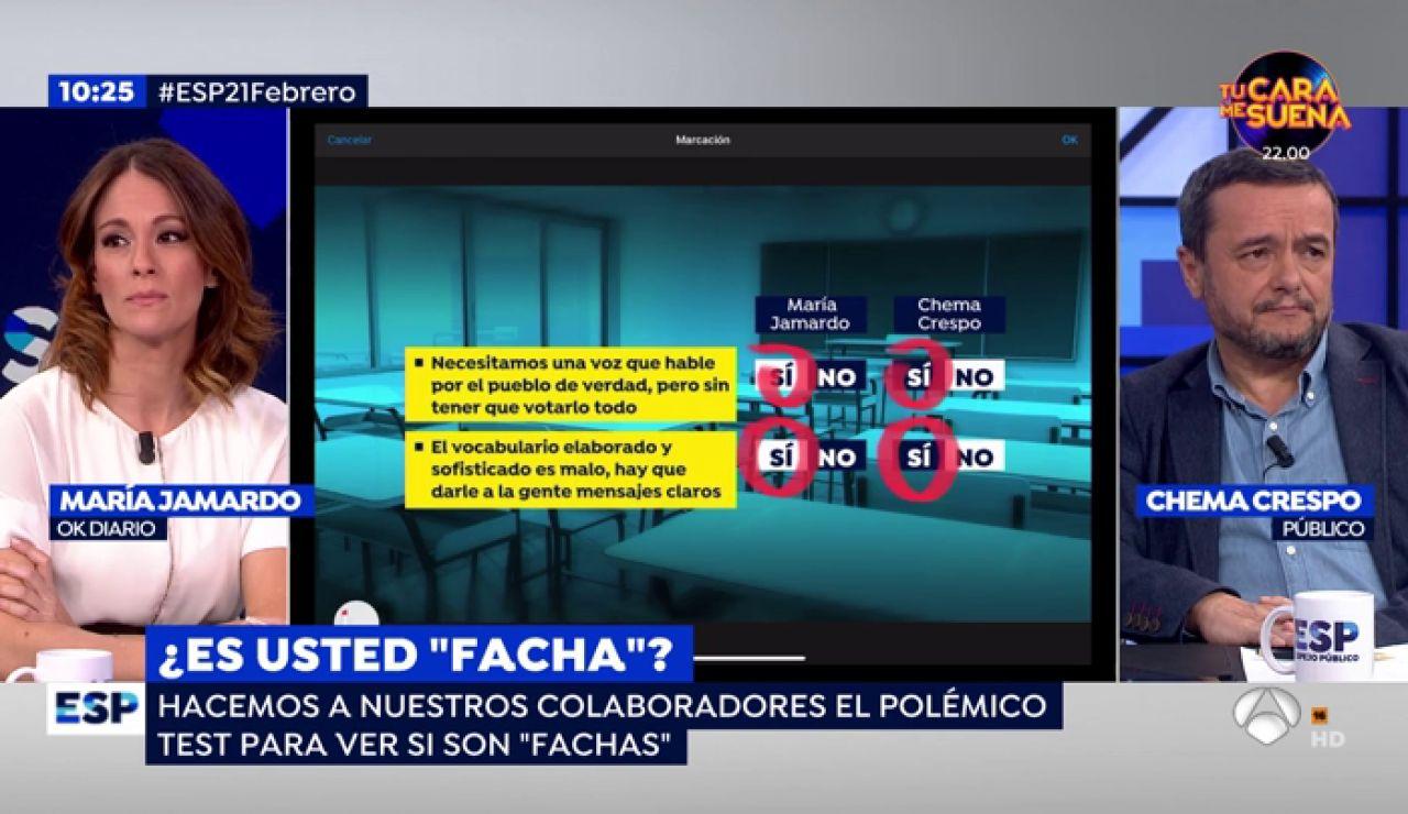 Los colaboradores de Espejo Público hacen el polémico 'test facha' que un profesor ha realizado a sus alumnos de 4º de la ESO en Oviedo