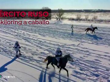 El revolucionario entrenamiento del Ejército ruso que mezcla equitación y esquí
