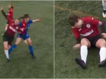 Una jugadora se disloca la rodilla y se la coloca a golpes