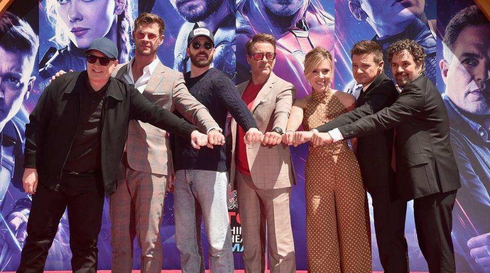Kevin Feige y los protagonistas de 'Vengadores: Endgame'