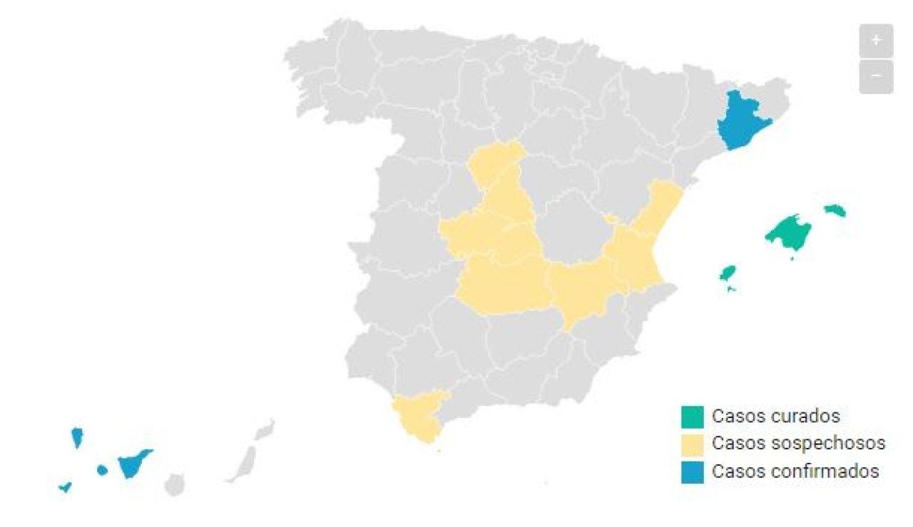 Mapa casos coronavirus en España