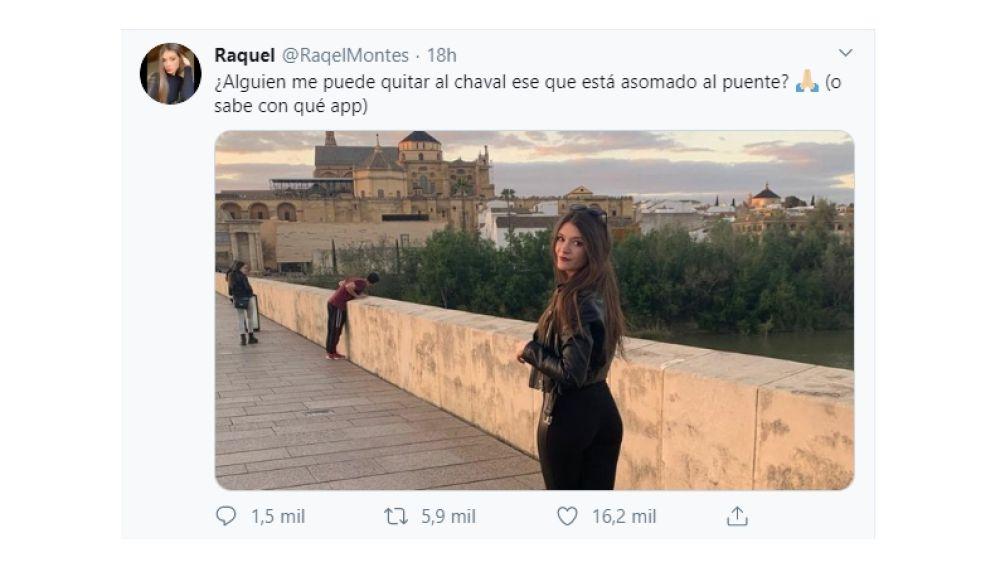 Pantallazo de un tuit de @RaqelMontes